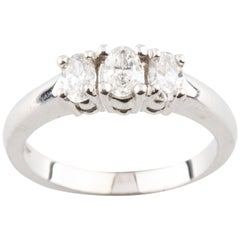 0.75 Carat Oval Diamond Three-Stone Engagement Ring in White Gold