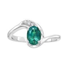 0.75 Carat Oval Green Tourmaline Diamond Ring