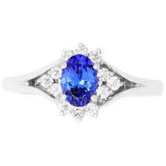 0.75 Carat Oval Shaped Tanzanite and 0.22 Carat White Diamond Ring