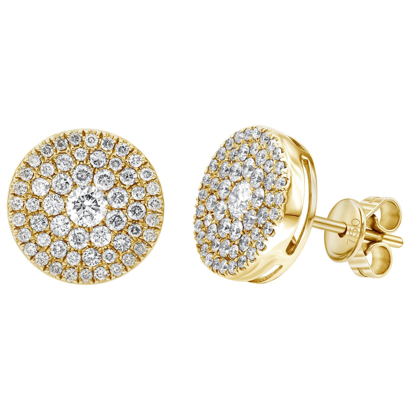 0.75 Carat Pave Set Cluster Round White Diamond 18 Karat Gold Stud Earrings