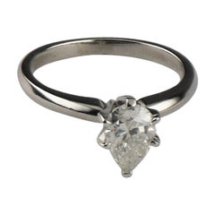 0.75 Carat Pear Shaped Diamond Platinum Solitaire Engagement Ring
