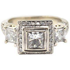 0.75 Carat Princess Cut Diamond 18 Karat White Gold Engagement Ring