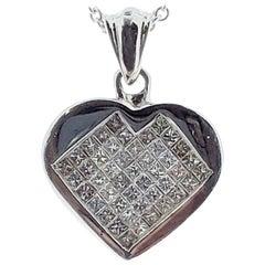 0.75 Carat Princess Cut Diamond Heart Shape Pendants in 14 Karat White Gold