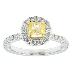 0.75 Carat Radiant Cut Yellow Diamond Ring with Diamond Halo and Band