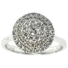 0.75 Carat Round Cut Cluster 18 Karat White Gold Tresor Double Halo Diamond Ring