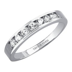 0.75 Carat Round Diamond Channel Set 18 Karat White Gold Half Eternity Band Ring