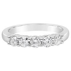 0.75 Carat Round Diamond Platinum Five-Stone Wedding Band