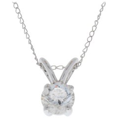 0.75 Carat Round Diamond Solitaire Pendant in 14 Karat White Gold