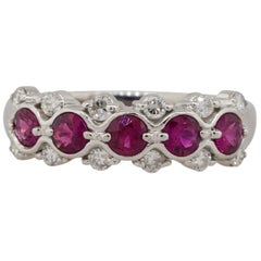 0.75 Carat Round Ruby Bezel Set Diamond Ring Platinum in Stock