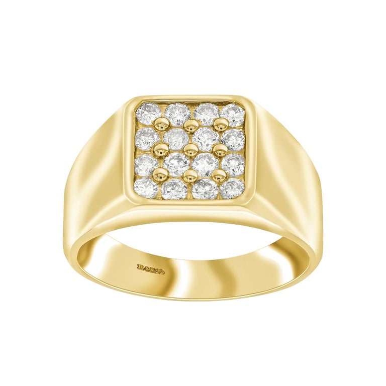 0.75 Carat Round White Diamond 18 Karat Yellow Gold Square Men's Signet Ring For Sale