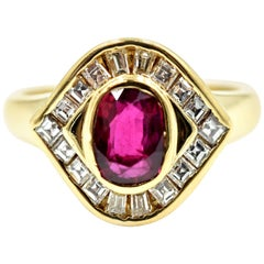 0.75 Carat Ruby and Diamond Ring 18 Karat Yellow Gold