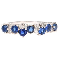0.75 Carat Sapphire Diamond 14 Karat White Gold Band
