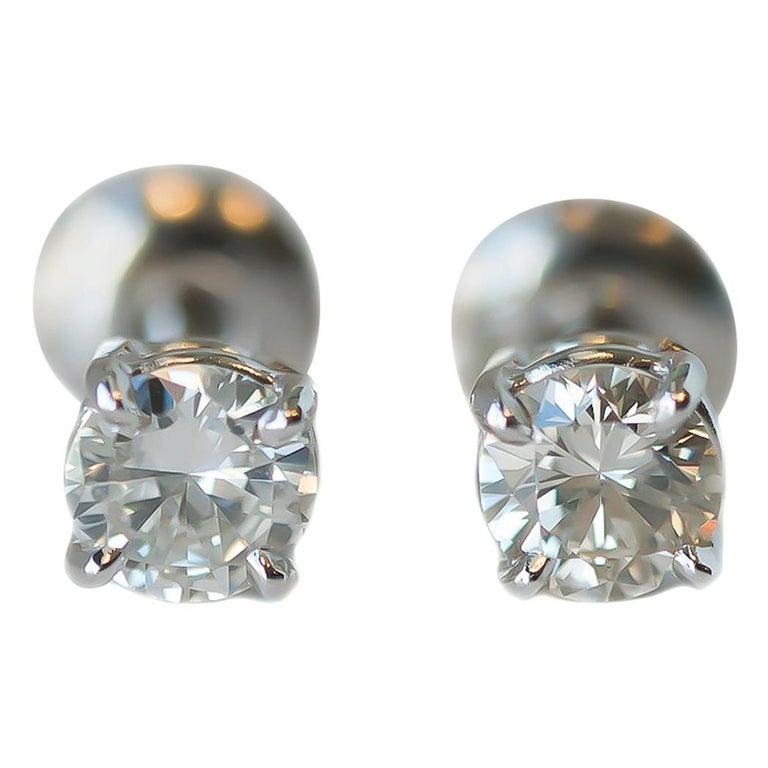 c1c5c86fa 0.75 Carat Total Diamond and 14 Karat White Gold Screw Back Stud Earrings  For Sale