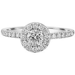 0.75 Carat Total Weight White Round Diamond Halo Gold Engagement Bridal Ring