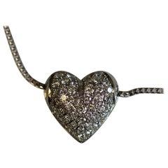0.75 Carat TW Heart Pave Pendant Necklace 14 Karat White Gold, Ben Dannie