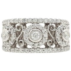 0.75 Carat Vintage 3-Stone Diamond Ring Set in 14 Karat White Gold
