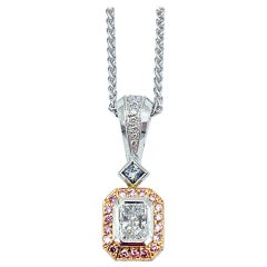 0.75 Carat White and Pink Diamond Platinum Pendant Necklace