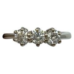 0.75 Carat White Diamond Trilogy Three-Stone 18 Karat White Gold Ring