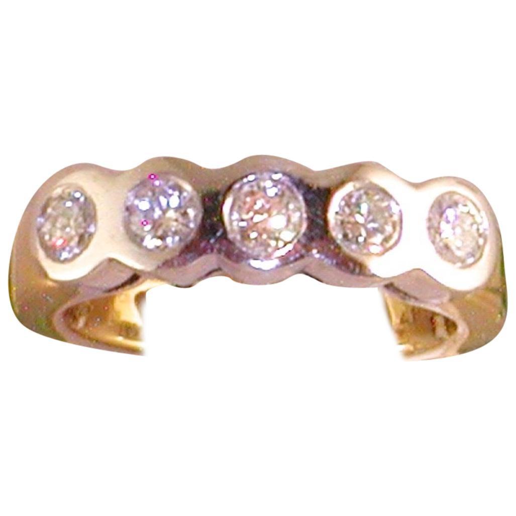 0.75 Carat Yellow White Gold Diamond Memory Ring