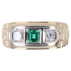 0.75tcw 14K Three Stone Men's Colombian Emerald & Diamond Two-Toned Ring