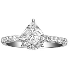 0.76 Carat Diamond 14 Karat White Gold Cluster Engagement Ring