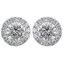 0.76 Carat Diamond Round Halo Martini Style Stud Earring 14 Karat White Gold