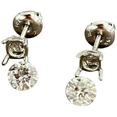 0.76 Carat Diamond Solitaire Stud Earrings 4 Prongs Screw Back 14 Karat Gold