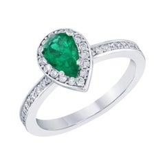 0.76 Carat Emerald Diamond Engagement 14 Karat White Gold Ring
