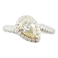 0.76 Carat Fancy Yellow Pear Shape Diamond Ring GIA in 18 Karat White Gold