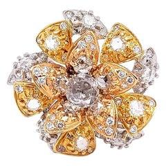 0.76 Carat / Rose Cut Diamonds / 18 Karat White Gold / Women's Flower Ring