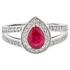 0.76 Carat Ruby and White Diamond Ring in 14 Karat White Gold