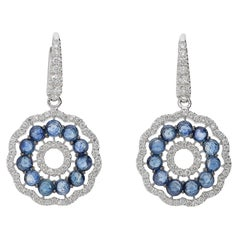 0.76 White GVS Diamonds 3.01 Rose Cut Blue Sapphires 18kt Gold Dangle Earrings