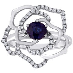 0.77 Carat Blue Sapphire Diamond Gold Flower Ring