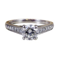 0.77 Carat Brilliant Cut Diamond Solitaire Ring, London 2007 Platinum