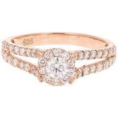 0.77 Carat Diamond 14 Karat Rose Gold Ring