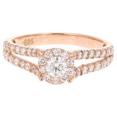 0.77 Carat Diamond 14 Karat Rose Gold Ring