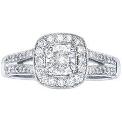 0.77 Carat E VVS2 Cushion Diamond Cluster Ring Natalie Barney