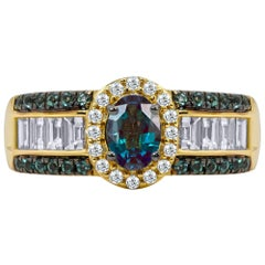 Mark Henry 0.77 Carat Natural Brazilian Alexandrite and Diamond Ring, 18 Karat