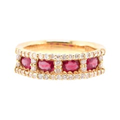 0.77 Carat, Natural Ruby and Diamond Band Ring Set in 18K Gold