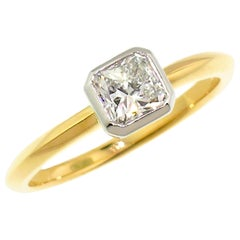 0.77 Carat Radiant Cut Diamond in Platinum and 18 Karat Ring by Dan Peligrad