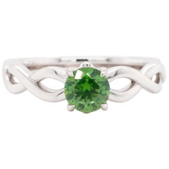 Russian Demantoid 18 Karat Gold Engagement Wedding Fashion Ring