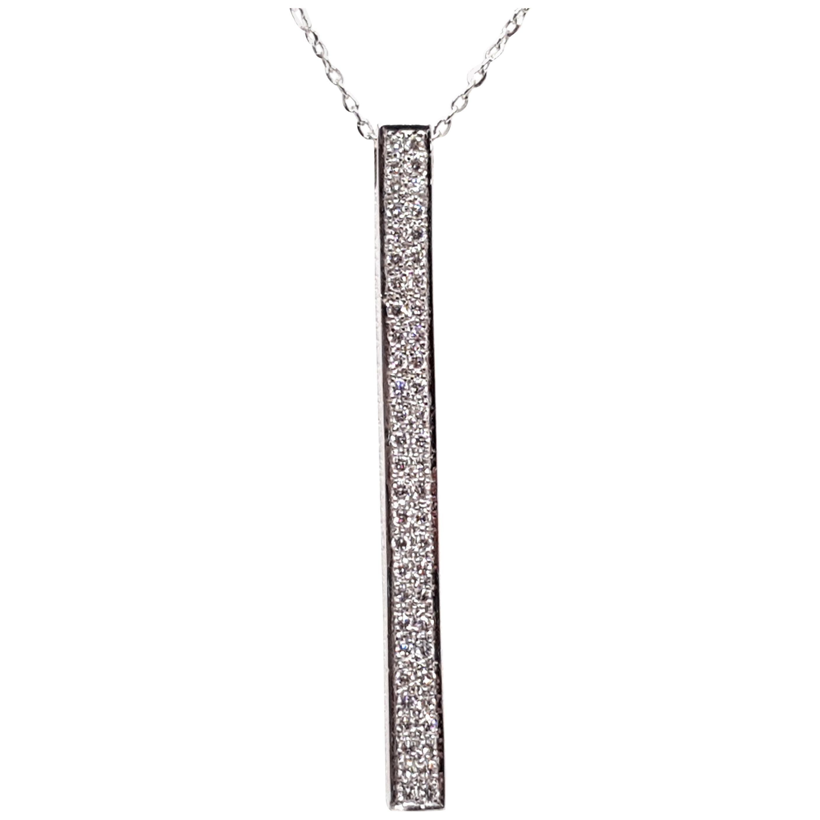 0.77 Carat White Gold Necklace Diamond Pendant