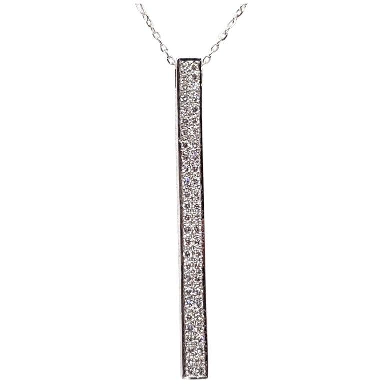 0.77 Carat White Gold Necklace Diamond Pendant For Sale