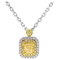 0.77 Carat Yellow Diamond 18 Karat Two-Tone Gold Pendant Necklace