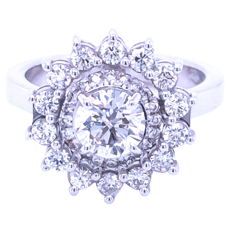 Berca 0.77 GIA Certified White Diamond Halo Setting White Gold Engagement Ring