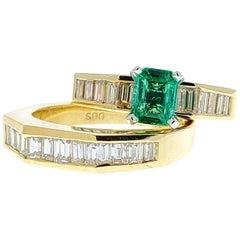 0.78 Carat Colombina Emerald and Diamond Ring Set in 14 Karat Yellow Gold
