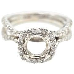 0.78 Carat Diamond 18 Karat White Gold Semi-Mount Engagement Ring