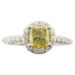 0.78 Carat Fancy Vivid Yellow Radiant Shape Diamond Ring GIA 14 Karat White Gold