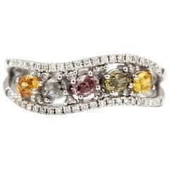 0.78 Carat Multicolored Oval Diamonds 18 Karat White Ring