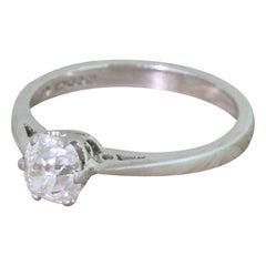 0.78 Carat Old Mine Cut Diamond Engagement Platinum Ring